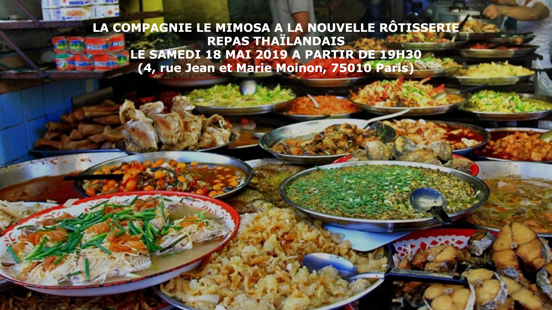 La compagnie le mimosa fait son repas à la Nouvelle Rôtisserie